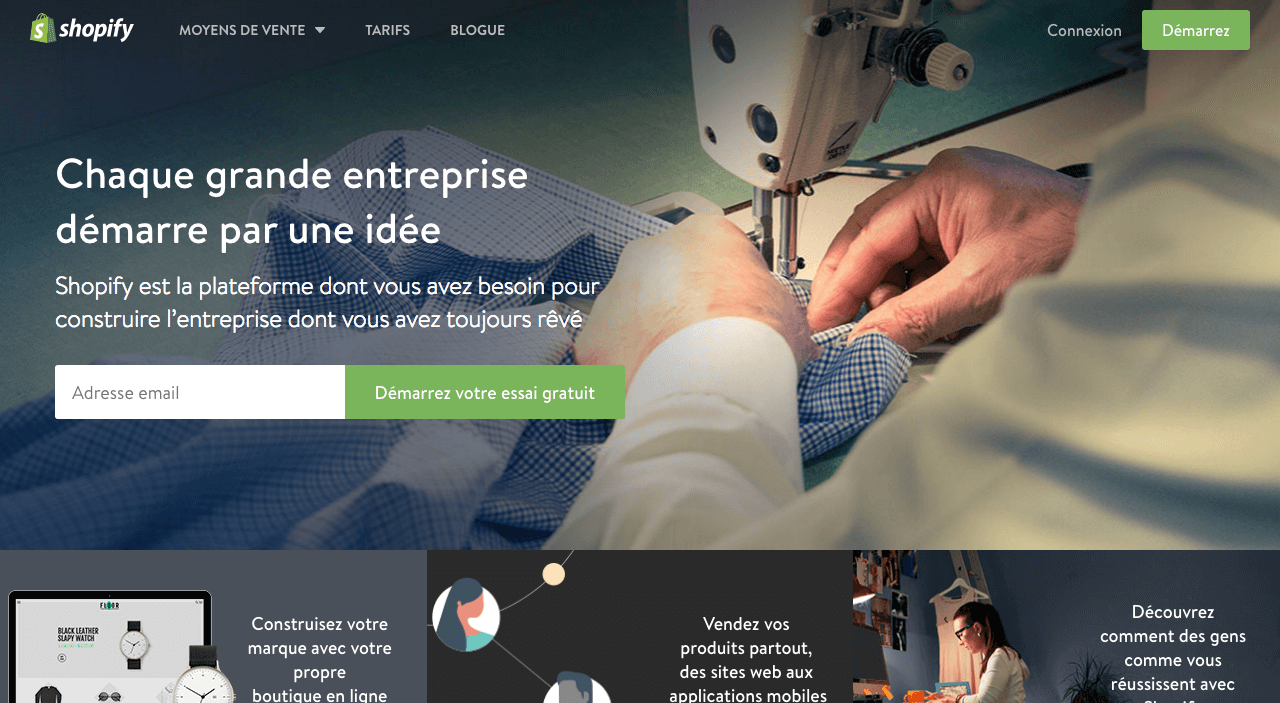 shopify page accueil