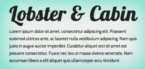 conseils exemples google fonts lobster cabin