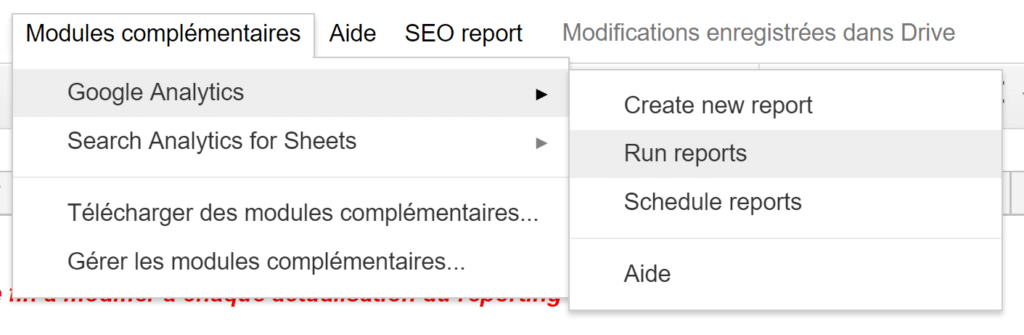 Run GA report SEO