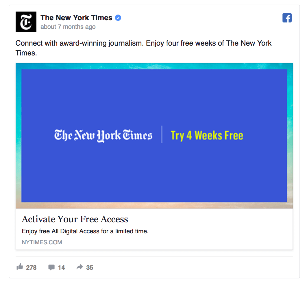 facebook retargeting publicite new york times