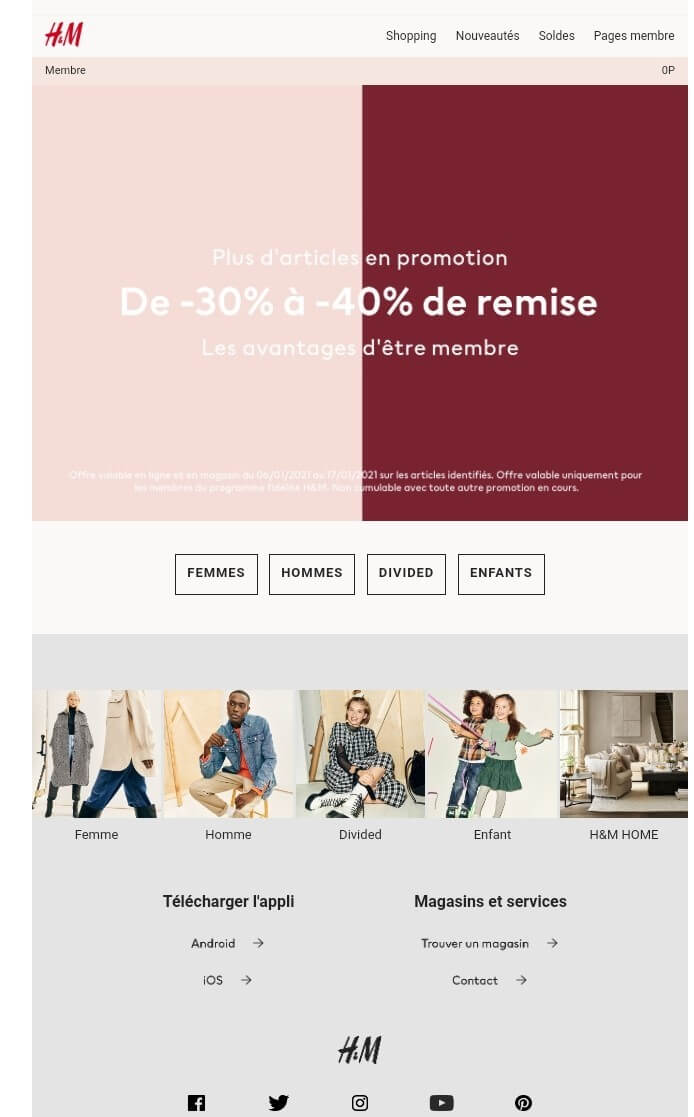 Exemple campagne emailing H et M